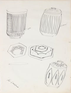 Modernist Objects in Ink on Paper by Ross Curtis, Mid 20th Century