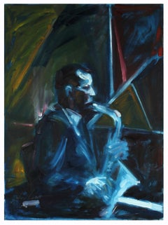 Blue, Yellow and Red, Oil on Canvas Figurative Painting With a Saxophone, 2001