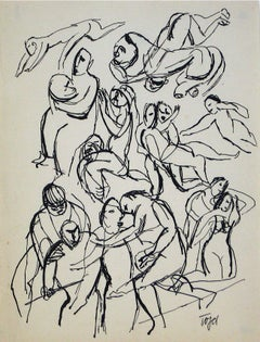 Monochromatic Figurative Line Drawing in Ink on Paper, Early 20th Century