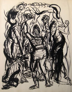 Abstract Expressionist Figures in Ink Wash on Paper, Early to Mid 20th Century