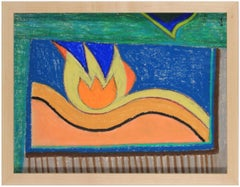 Bright Abstract Pastel Drawing in Orange Blue Yellow and Green, August 10, 1985