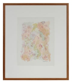 Colorful Minimalist Abstract Watercolor Painting in Pink, Green, Blue, 1963