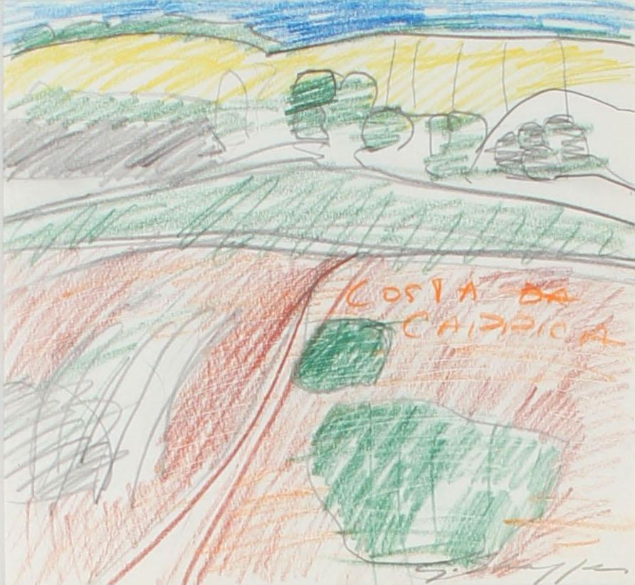 Colorful Abstract Expressionist Colored Pencil and Graphite Landscape Drawing