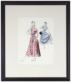 Mid 20th Century Fashion Illustration in Gouache and Ink with Red and Blue