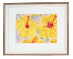 """Yellow Hibiscus"", Hawaii Still Life, Ink, Watercolor and Gouache on Paper"
