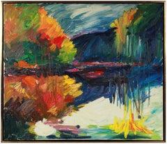 "1990's ""Lake Temescal"" Vibrant Oil on Canvas"