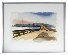 Mid 20th Century Earth Toned Highway Scene in Watercolor