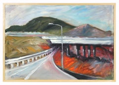 20th Century Colorful Bay Area Freeway with Mountains Scene, Oil on Canvas