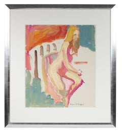 Colorful Seated Nude Figure with Turquoise Pink Red & Orange, Distemper Drawing