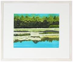 """Le duexime lac"", 2017, Lac Perkens, Quebec, Ink Watercolor Gouache Lake Scene"