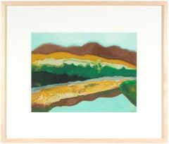 """Riviere Missiquoi-Reflection"", Quebec, Summer 2018, Ink and Gouache Landscape"