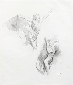 Late 20th Century Drawing of Nude Female Figures Dancing in Graphite on Paper