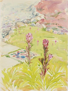 Colorful California Landscape with Wildflowers in Pastel Watercolor and Graphite