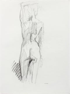 Nude Female Figure from Behind, Graphite on Paper Drawing, Late 20th Century