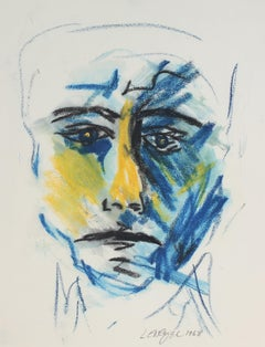 Oil Pastel Portrait of a Man w Blue Yellow Black Features, American Modern, 1968