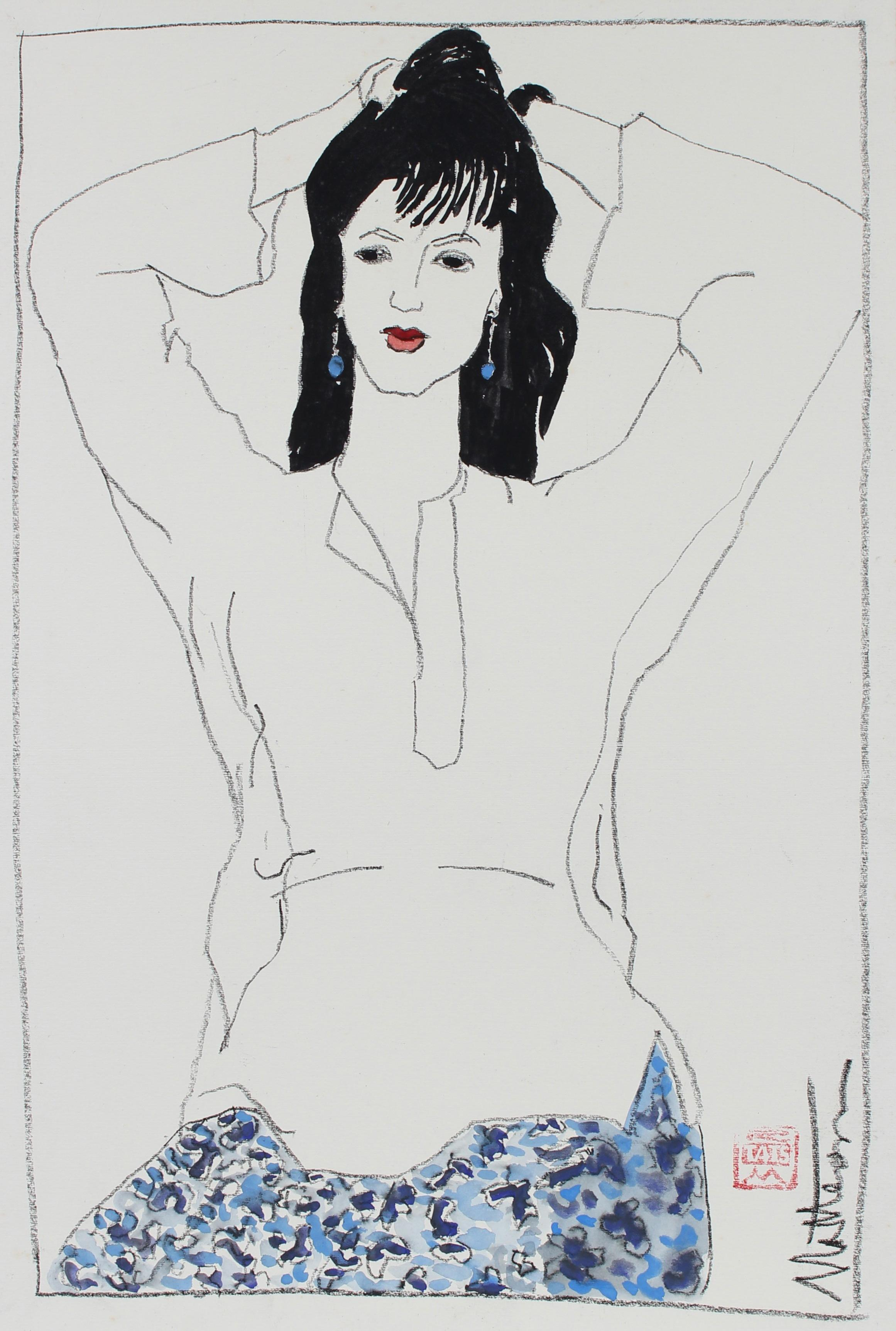 Female Figure in Blue Blue With Red Lipstick, Charcoal & Gouache Painting, 1999