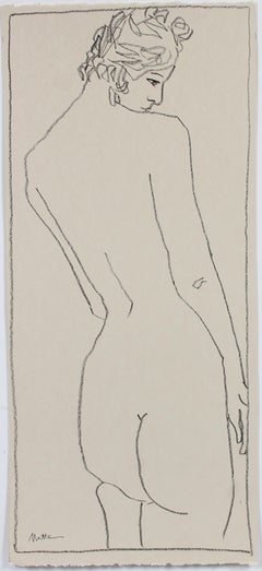 Minimal Female Nude Charcoal Line Drawing, Mid-Late 20th Century