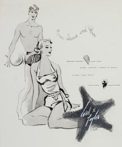 "1950's ""Sun Sand Sea"" Lord and Taylor Modernist Summer Beach Portrait in Gouache"