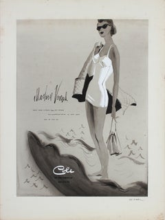 1950's Cole of California Summer Beach Portrait in Gouache with Seashell