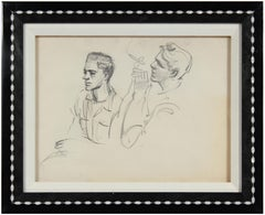 Vintage 1940-50s Charcoal Portrait Study of Young Men Smoking in New York