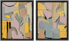 """""""Floatsam"""" & """"Jetsam"""" Diptych, Collage on Board Contemporary Abstract, 2019"""