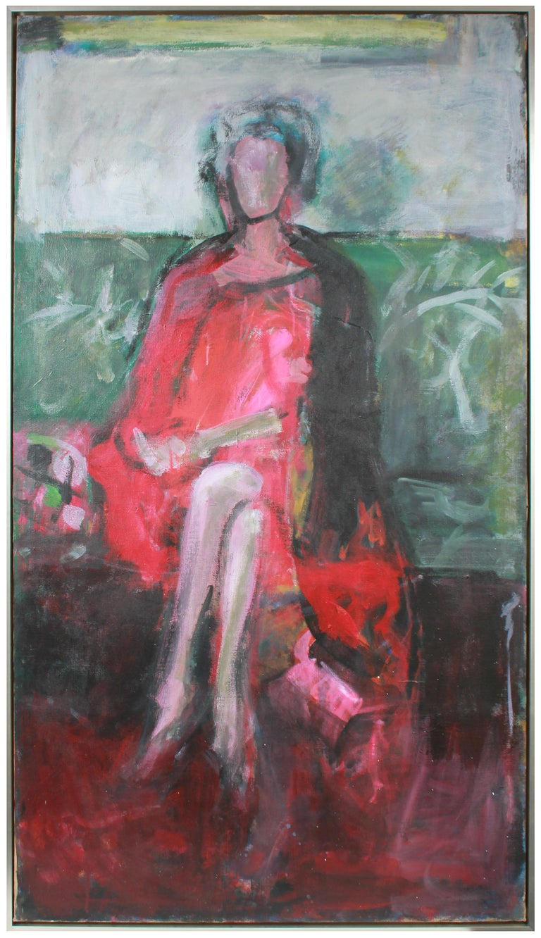 "This 1985 oil on canvas abstracted seated portrait of the artist's mother in a red dress entitled ""Rosalind"" is by second generation New York School artist Richard Caldwell Brewer (1923-2014). Brewer along with his charmed circle of artist friends,"