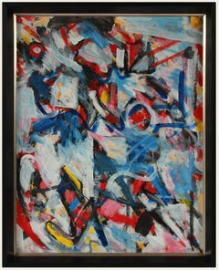 Bold Abstract Expressionist Painting in Primary Colors, Acrylic, Early 2000s