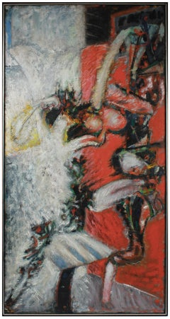 Modernist Large-Scale Abstract in Oil on Canvas with Red, 1981