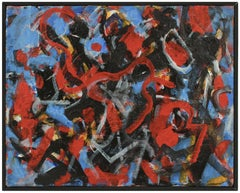 Abstract Expressionist Acrylic Painting with Bold Brushstrokes in Primary Colors