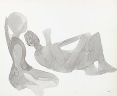 Monochromatic Relaxed Couple Silhouetted in Ink on Paper, 1960-80s