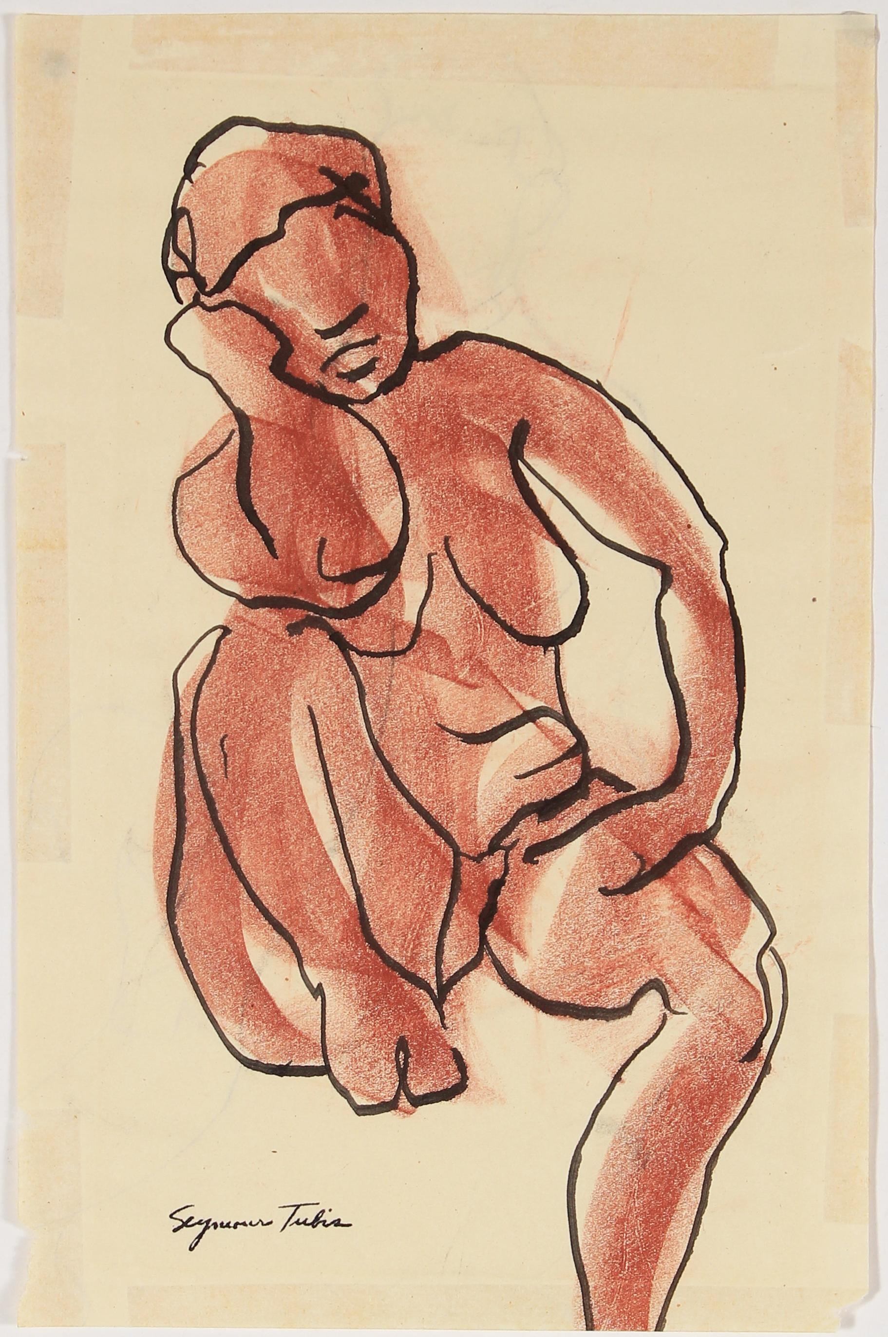 Nude Seated Female Figure Sketch in Ink and Pastel in Rust Red, Mid Century