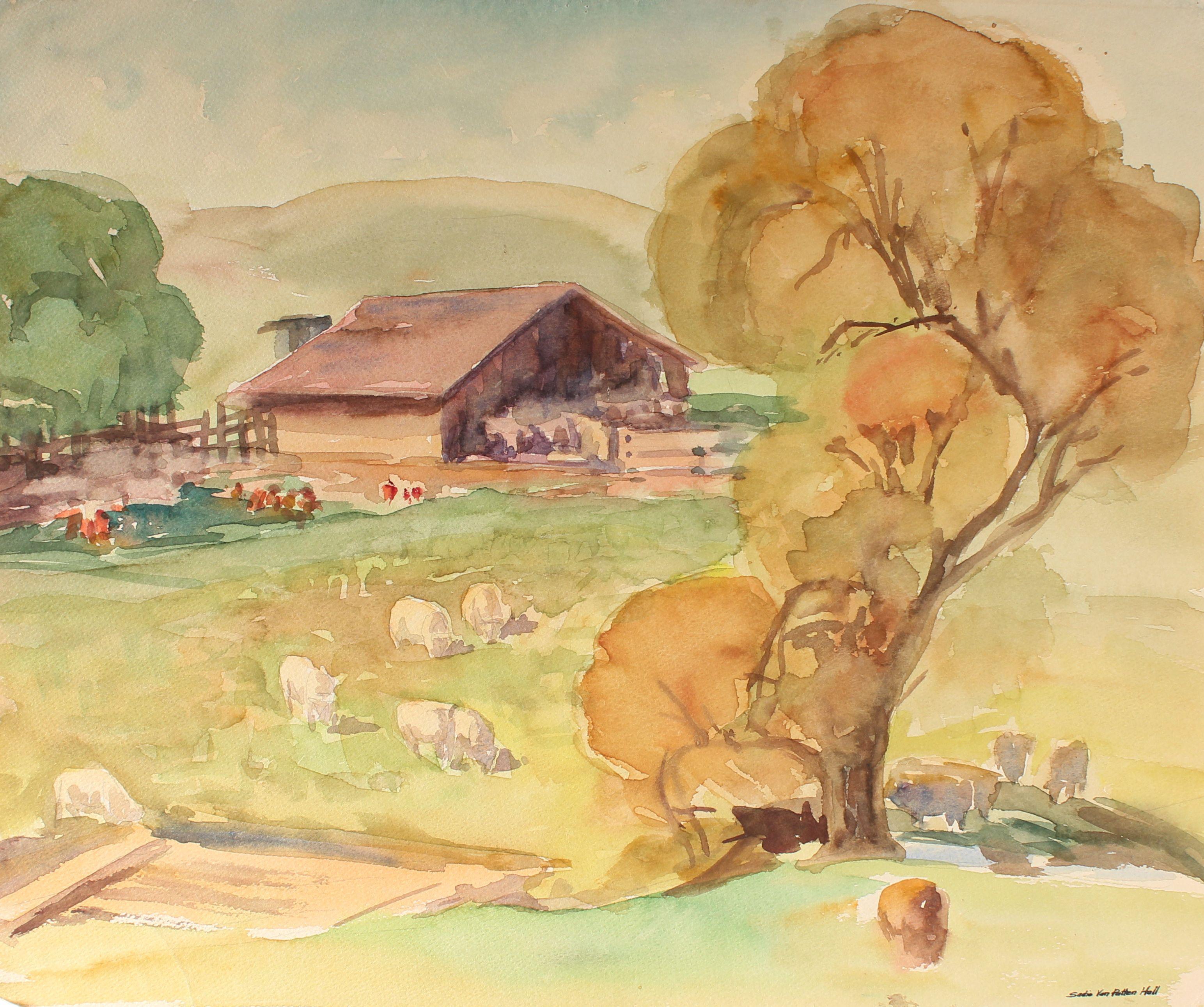 Northern California Farm Animal Landscape Scene with a Barn in Watercolor