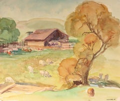 Northern California Farm Animal Landscape Scene with a Barn in Watercolor