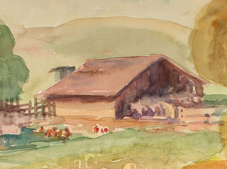 Northern California Farm Animal Landscape Scene with a Barn in Watercolor - Art by Sadie Van Patten Hall
