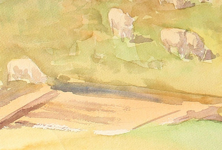 Northern California Farm Animal Landscape Scene with a Barn in Watercolor - American Modern Art by Sadie Van Patten Hall