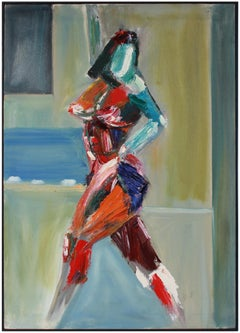 Colorful Figurative Female Nude, Acrylic on Canvas with Red, Turquoise and Green