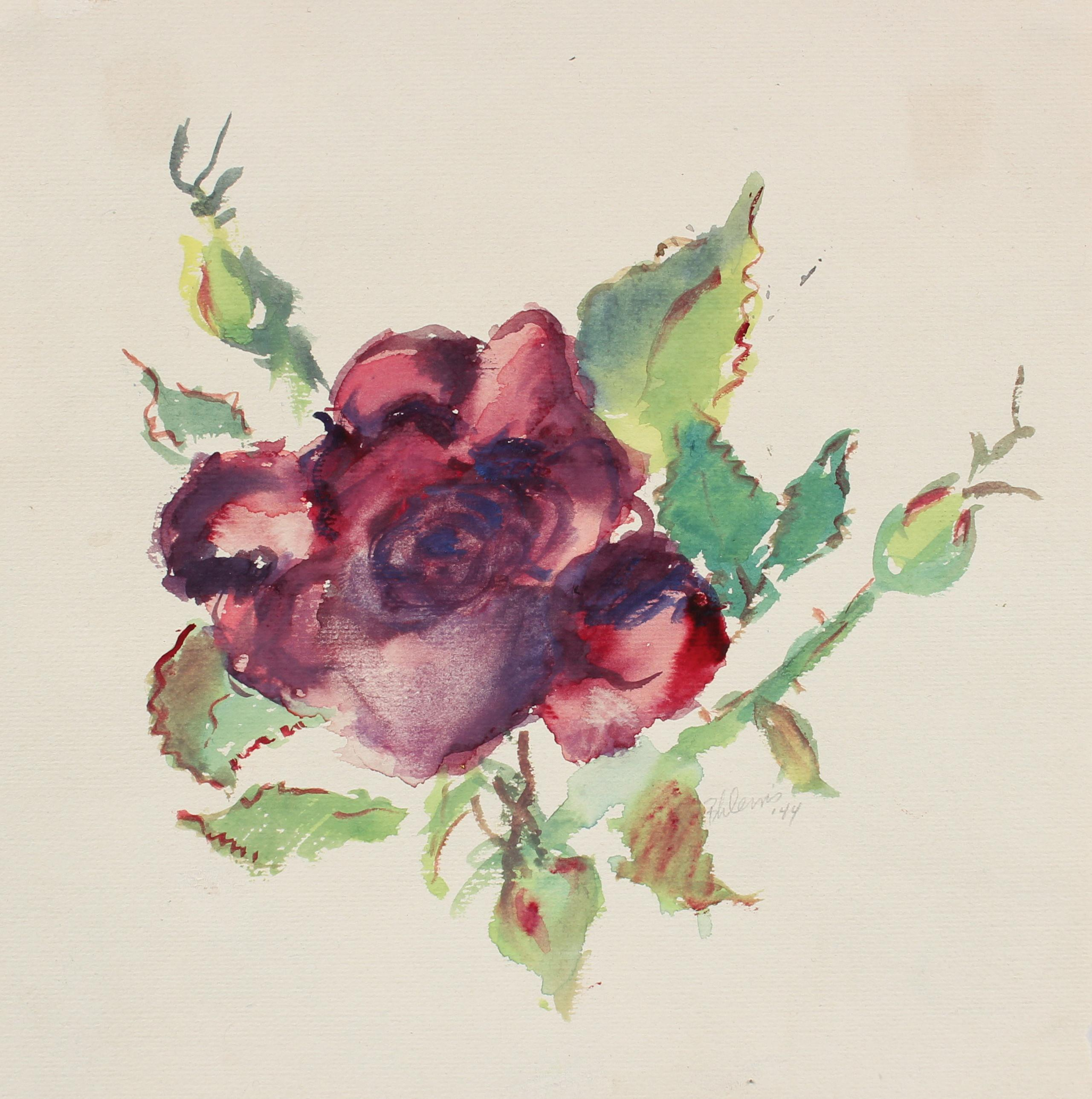 Red Rose with Green Leaves Watercolor on Paper, 1944