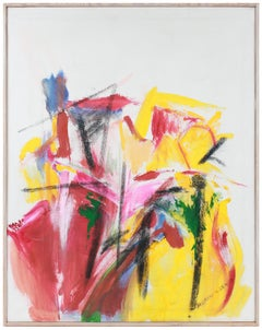 """""""Summer Garden"""" Bright Acrylic & Charcoal Abstract Expressionist Painting"""