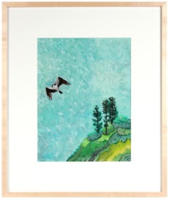 """Bird of Prey"" Lost Coast Mendocino, CA Gouache & Watercolor Landscape in Blue"