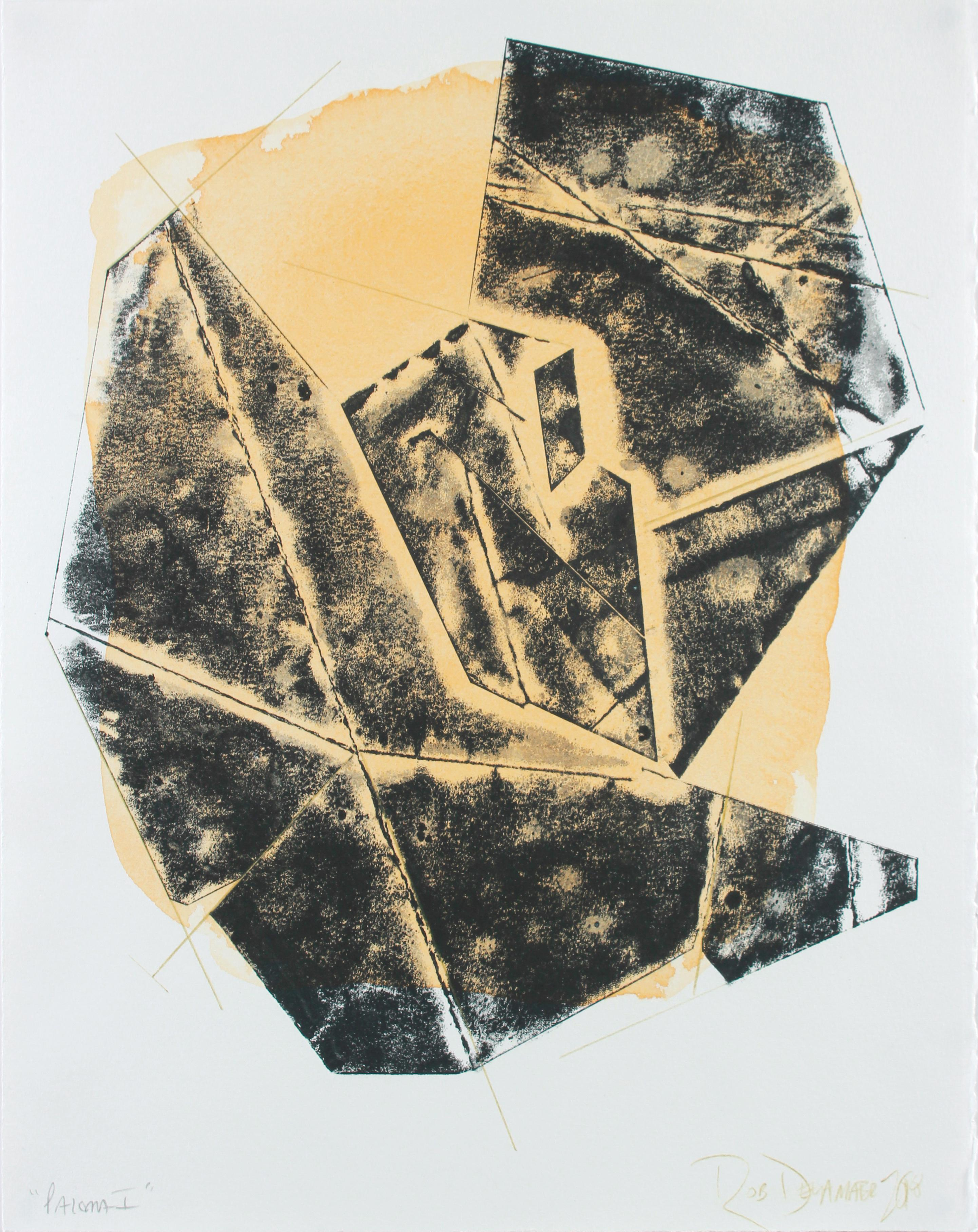 """""""Paloma I"""" Contemporary Geometric Monotype on Paper Abstract in Yellow and Black"""