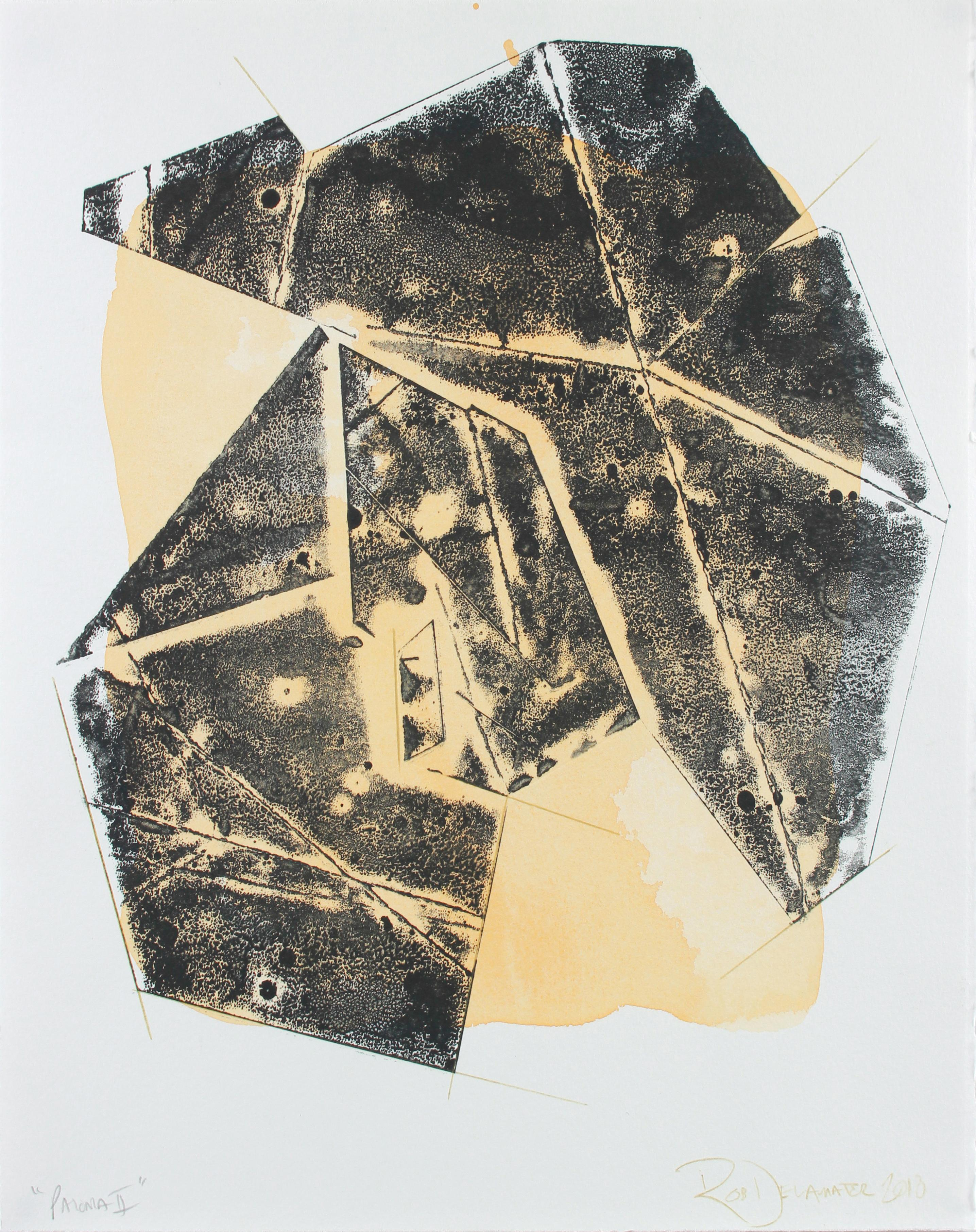 """""""Paloma II"""" Contemporary Geometric Monotype on Paper Abstract in Yellow & Black"""