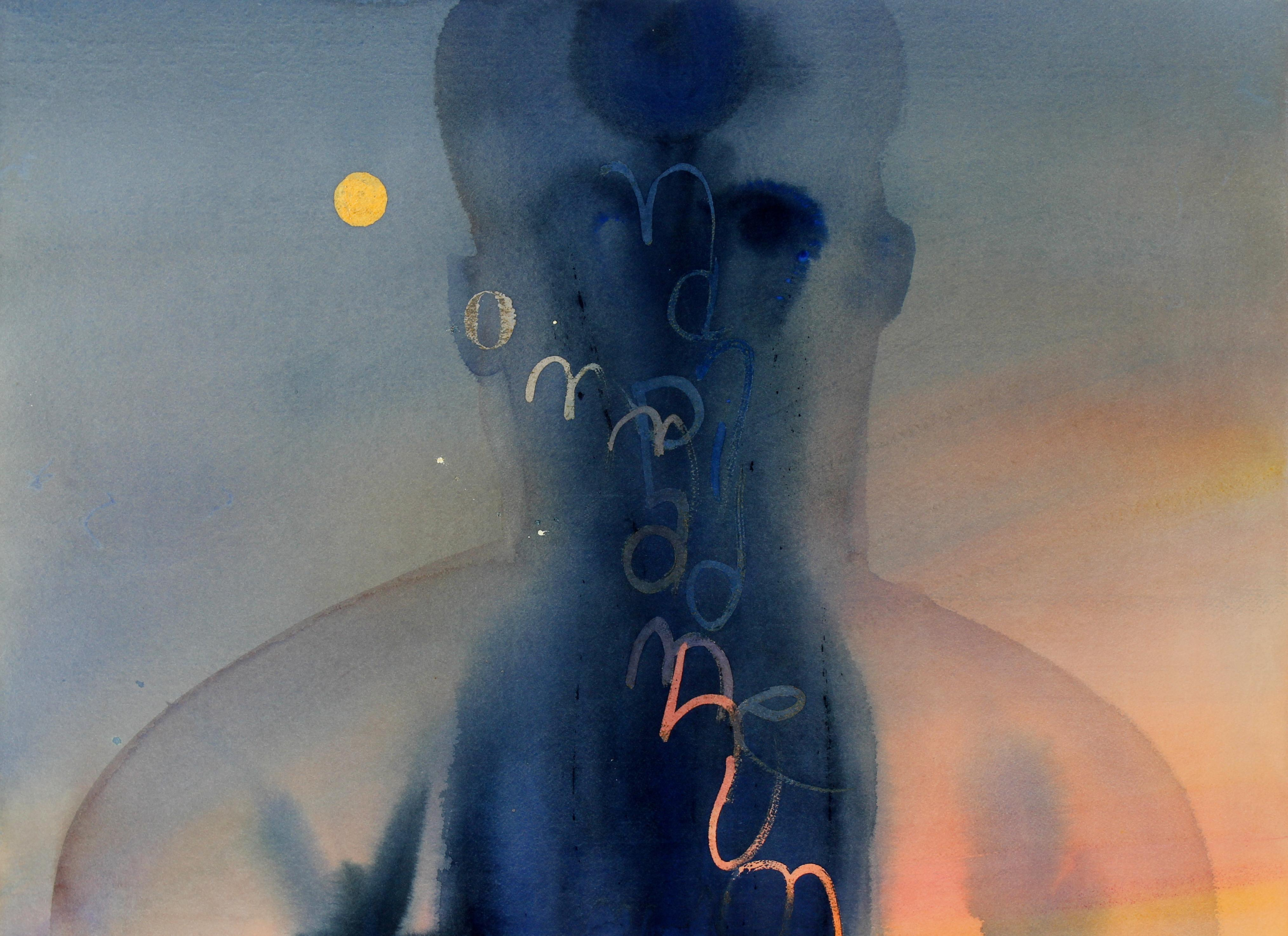 Abstracted Figure with Moon in Watercolor in Navy Peach and Yellow