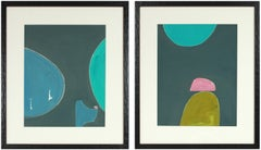 """""""Night and the Sea I & II"""" Diptych Gouache & Colored Pencil on Paper"""