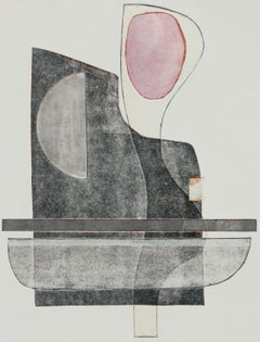 """""""Conrad"""" Abstract Geometric Mixed Media Monotype on Paper with Pink & Gray"""