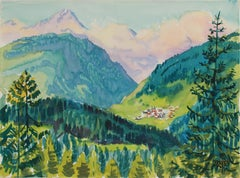 Swiss Mountain Scene Near Lenzerheide in Watercolor on Paper with Lush Greens