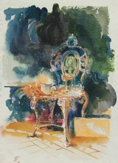 Colorful Watercolor Interior Still Life Painting of Victorian Chair