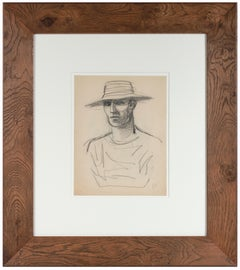"""""""Paris"""" 1940-50s Charcoal on Paper Portrait Study of a Young Man in a Hat"""
