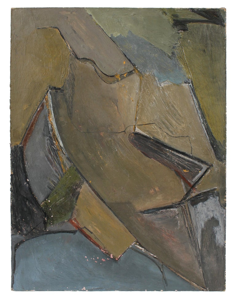 Jack Freeman Abstract Painting - Abstract Expressionist Painting in Cool Tones, Circa 1960s
