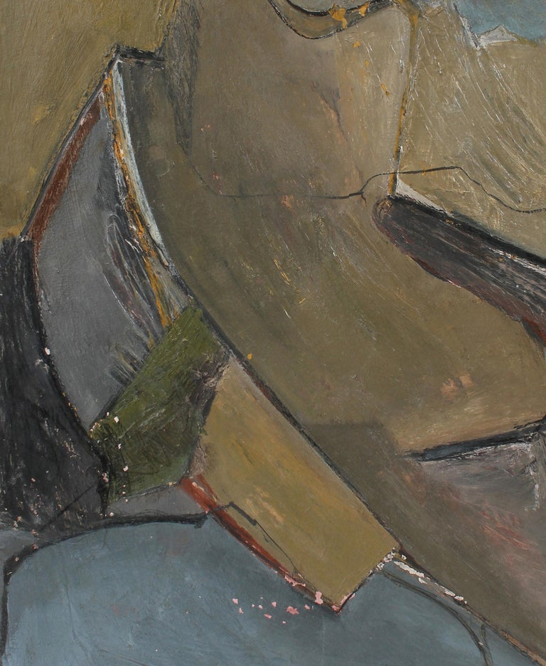 Abstract Expressionist Painting in Cool Tones, Circa 1960s - Gray Abstract Painting by Jack Freeman