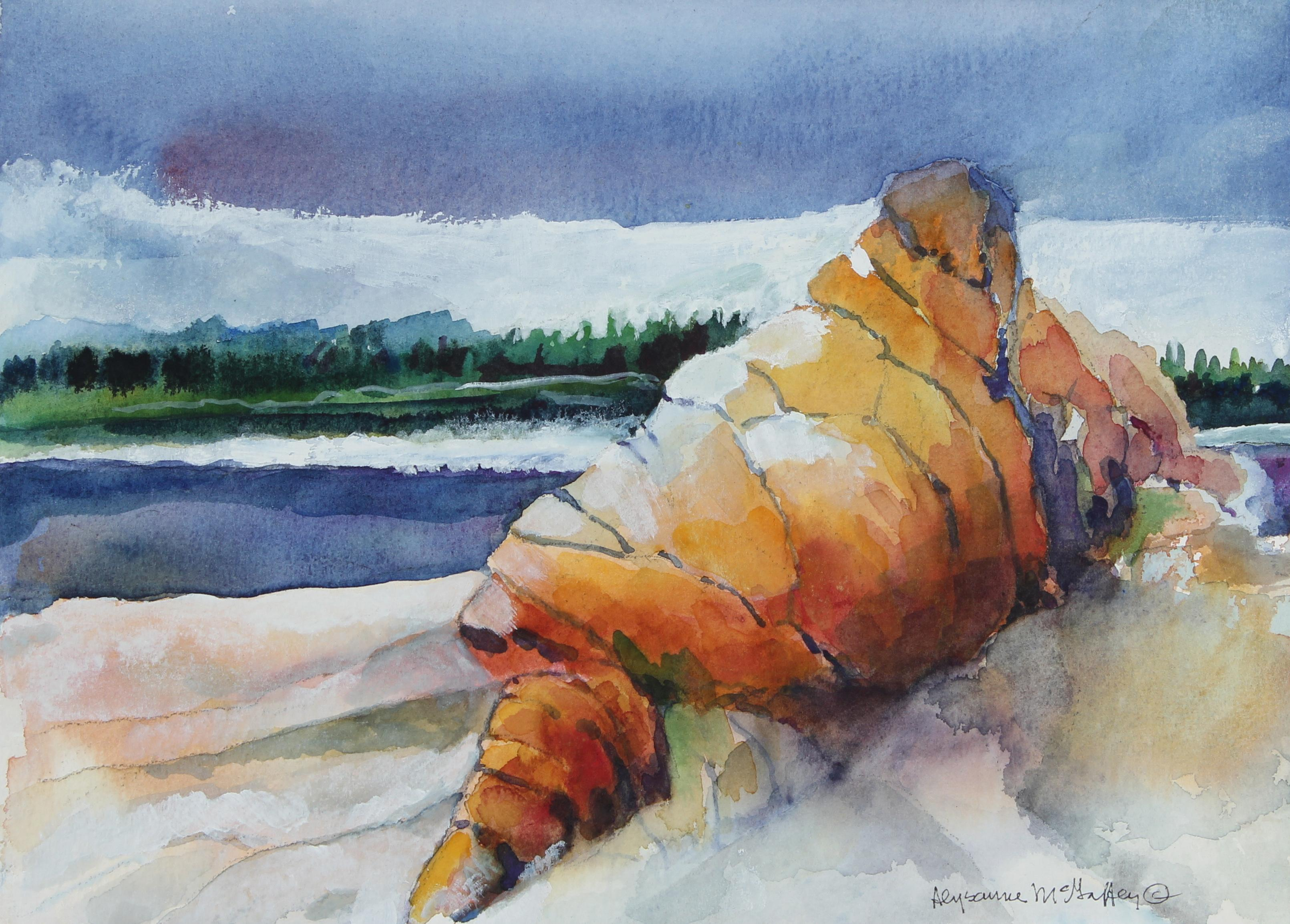 Colorful 20th Century Northern California Seascape in Watercolor on Paper